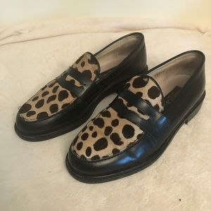 Kenneth Cole loafers with leopard trim